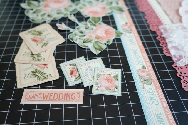 Yo quisquillosos flores y elementos cortados de la hora de florecer y los papeles de té Botánico Para añadir a la página ...