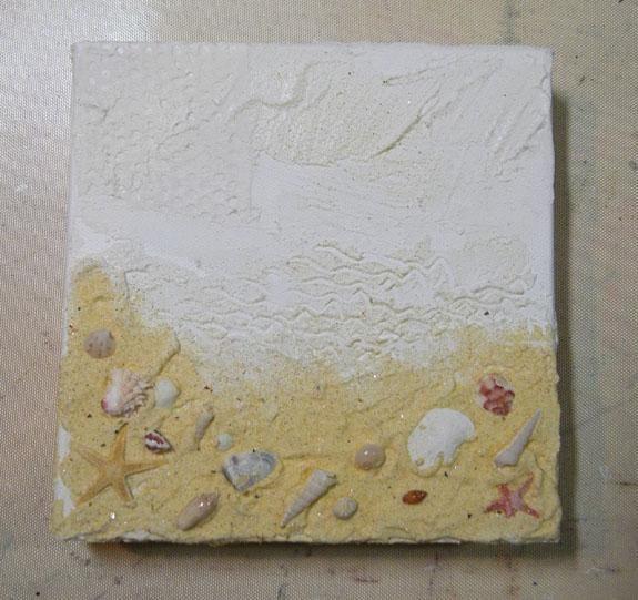 Deje que se seque por completo. Así es como el lienzo se ve tan lejos. Don't forget about adding the sand to the sides and bottom of the canvas.