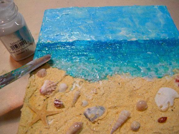 Agregué salpicado Sorbete Sheer donde el océano se encuentra con la arena para representar la espuma blanca de las olas rompiendo. Arte Antología hace 3 Sorbetes escarpados que añadirán brillo sin añadir color.