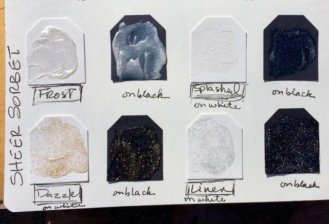Cada uno tiene buen brillo en una base de gel brillante que se seca a un acabado transparente brillante. Salpicado ha coloreado brillo, Dazzle tiene brillo del oro, y de lino tiene brillo de plata. Piense en las posibilidades!