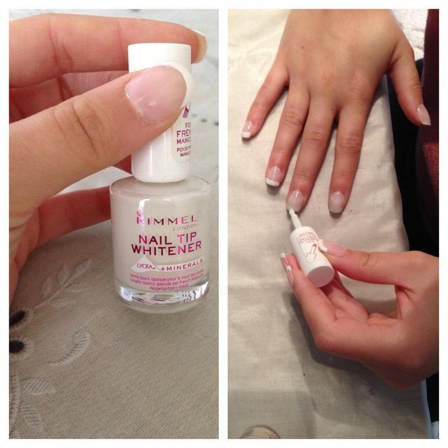 Una vez seco, añadir una fina capa de esmalte de uñas de color blanco a la punta. Este doesn't have to be neat!