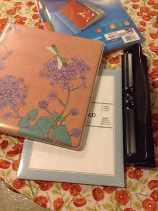Dejar's get organized! I got the paper, dividers & notebook at the office supply store. I was going to use plain paper but this paper with the border was on sale. I already had a hole puncher. And glue.