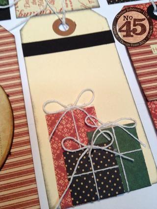 Pequeños trozos cuadrados y rectángulos en forma hacen maravillosas diminutos paquetes atados con una cuerda.