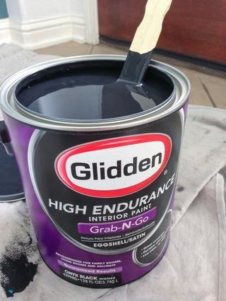 Cuando esté listo para pintar, asegúrese de mezclar bien la pintura. Estoy usando el color Negro Onyx, que es un profundo y verdadero negro.