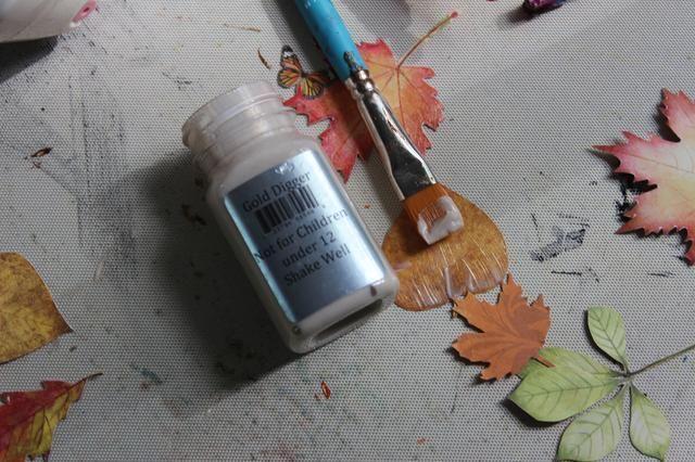 Para embellecer el mini álbum usé papel BoBunny Enchanted cosecha. Corté las hojas y los pinté con Sorbete de Gold Digger añadir brillo y brillo a ellos.