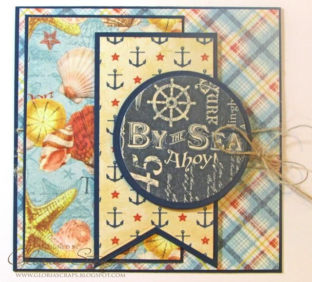 Cortar azul cartulina de 3 x 4 5/8 pulgadas. Cortar papel Beachcomber a 2 7/8 x 4 1/2 pulgadas. Conecte el papel Beachcomber a la cartulina azul y colocar el panel en el lado izquierdo de la frente de la tarjeta.