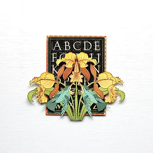 1. En el paquete de material efímero, seleccione la tarjeta de alfabeto negro, montar en cartulina de color naranja de la almohadilla PAPR 6x6. Imagen de la flor 2. Corte de