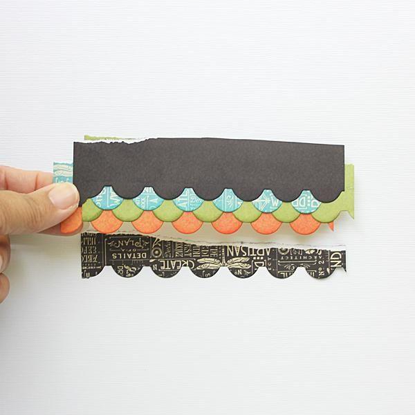 Cortar 6 tiras del papel pista 6x6. Die cortar cada tira utilizando un borde vieira morir, bordes de tinta.