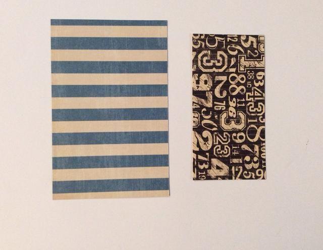Cortar 2 tapetes de papel con dibujos de la colección de papel. 1 a 3 5/8 x 5 5/8 pulgadas y 1 a 4 5/8 x 2 3/8 pulgadas.
