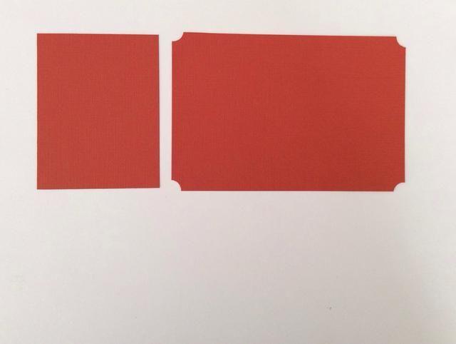 BOLSILLO UNO: Corte dos tarjetas de naranja tapetes de valores quemados. 1 a 4 x 6 pulgadas y ponche esquina todos los rincones. 1 a 3 7/8 x 3 pulgadas.