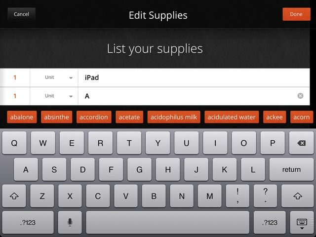 Toque en la segunda tarjeta para entrar en los suministros necesarios para completar su how-to. Para hacerlo más fácil, seleccionar las unidades previamente introducido. También, le damos sugerencias para suministros en naranja mientras escribe.