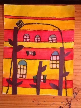 Pegamento tallos y hojas para crear una buena disposición en su pintura.