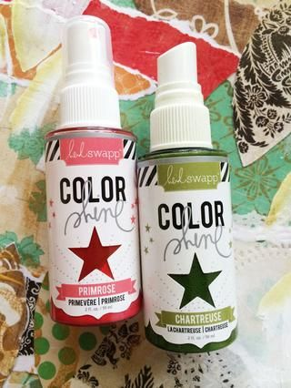 Ello's time for Color Shine!!! Lightly spray 3 areas with the Chartreuse (remember to shake the bottle first!) Use a heat gun to speed drying.