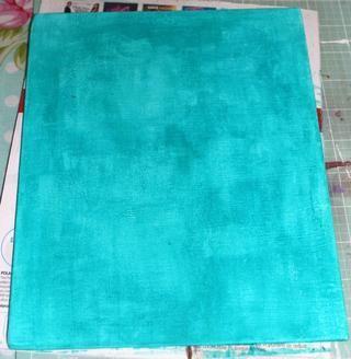 Pinté mi tablero de la lona con Velvet pintura dimensional en el trullo. Me gusta usar mi Brayer y un cepillo para obtener un poco de textura.