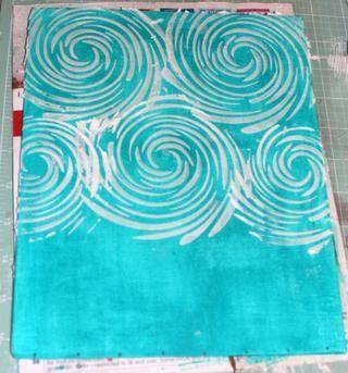 Utilicé la plantilla remolino y Estuco añadir un montón de textura a la parte superior de mi tabla.