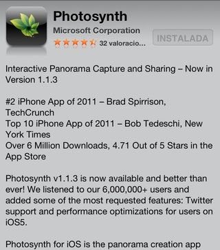 Descarga Photosynth aplicación desde la App Store,'s free and has no ads. Read the in-app quick tutorial to know how to use it, it's really simple.