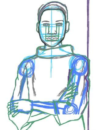 Aquí está mi primer boceto. Ello's different colors so I can keep track of all of my corrections. Underneath is the basic anatomy. (looks like a stick figure.)