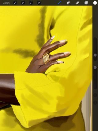 Detalle de la mano.