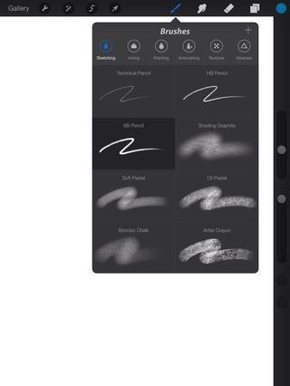 Primero empiezo con la herramienta Lápiz 6B durante unos bocetos de luz para establecer la forma y capturar la pose.