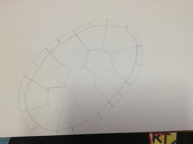 Dentro de los dos óvalos, seguir las líneas de la concha. Añadir una línea entre cada. Esto creará el borde de la concha tortugas.