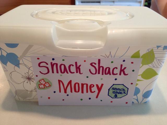 Crear una caja registradora de un contenedor vacío toallitas húmedas para almacenar el dinero como a sus hijos a pagar sus aperitivos. La tapa flip es divertido para los niños a usar! Les gusta hacer etiquetas y signos, también.