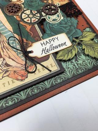 Inserte hilo encerado a través de la etiqueta sentimiento estampado y corbata en un arco, a continuación, se adhieren a la tarjeta.