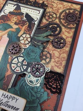 Utilice pegamento fuerte para adherir varios engranajes metálicos pequeños en la parte delantera de la tarjeta, como se muestra.