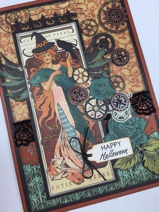 Su tarjeta de Steampunk de Halloween está hecho! (Una tarjeta de este tipo requerirá franqueo adicional.) Asegúrese de que usted envíe a su entusiasta preferido de Halloween!