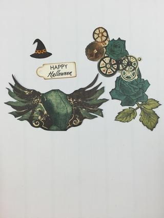 Fussy cortó imágenes steampunk de recogida de papel como se muestra. Bruja Sello's hat and Happy Halloween sentiment (Close To My Heart) onto ivory cardstock. Cut out and ink edges.