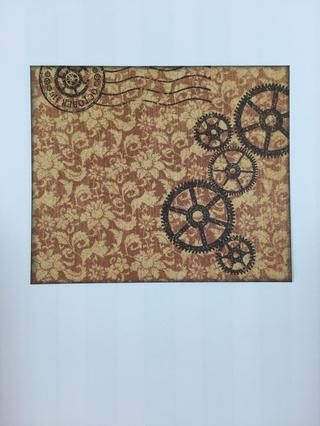 Engranajes Sello y cualquier imaginería Steampunk deseada con tinta negro sobre papel pedazo patrón.