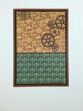 Adherirse esta pieza y la pieza de papel de color verde, a frente de la tarjeta.