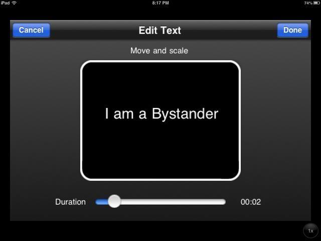 Para su primera diapositiva, añadir un título. También puede cambiar el tiempo que la diapositiva se queda en la pantalla con el