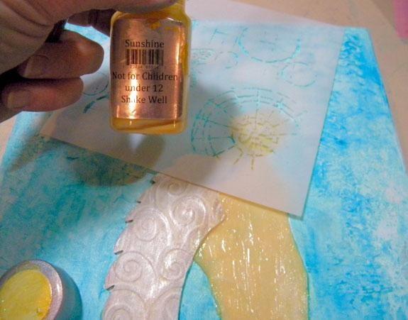 Esta plantilla semicírculo tengo hace el halo perfecto, así que añadió Sol Sorbete a través de él. Hay un montón de maneras de añadir un efecto de halo. Miré ángel arte en Pinterest para las ideas.