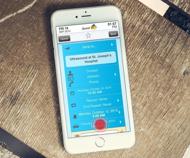 El recordatorio de la fecha y hora seleccionada ahora se muestra en el'alert cell'. Tap the 'travel cell' to set travel time.