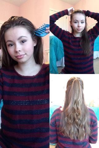 Ahora, acaba de separar de su pelo en un medio hacia arriba, media abajo peinado.