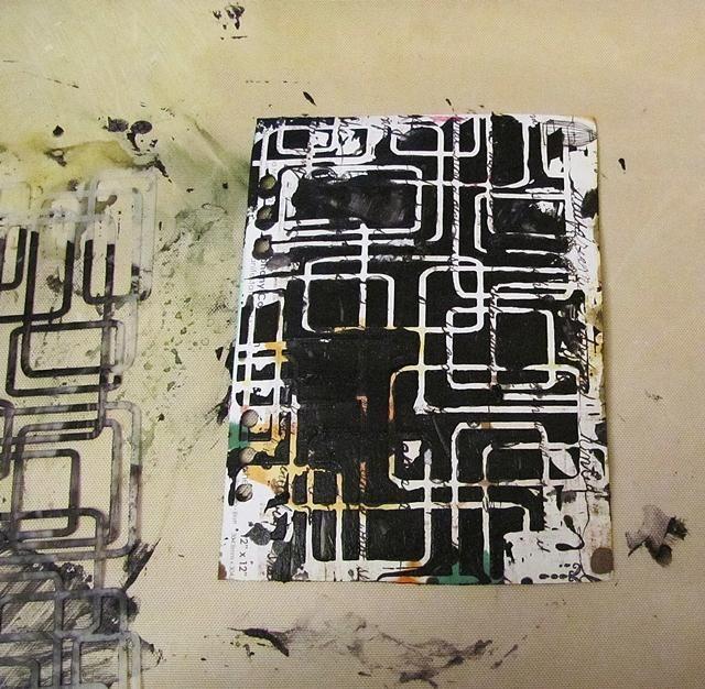 Y luego tenemos un poco de textura negro. No es perfecto, pero doesn't have to be -) It's just art journal fun - not a Wedding Card -) Let it dry.
