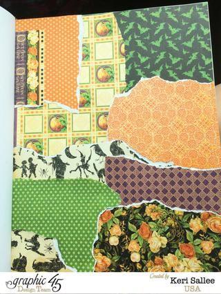Tear trozos aleatorios de papel a partir de Gráfico 45 Un misterioso cuento y, usando su EZ Runner, se adhieren a su página de la revista de arte.