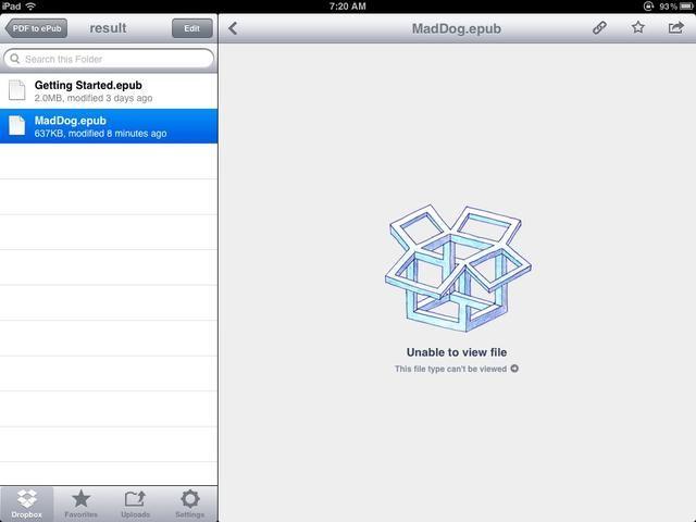 Se tarda unos pocos minutos para la conversión. Encuentra el archivo ePub en su carpeta de Dropbox conversión con la acción Wappwolf. Pulse el botón de acción para abrirlo en iBooks.