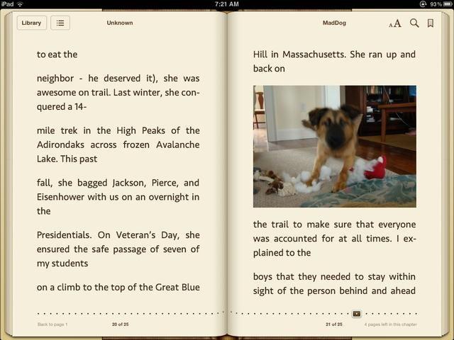 Ahora puede leer el archivo como un ePub llena en iBooks con todas las características de anotación.