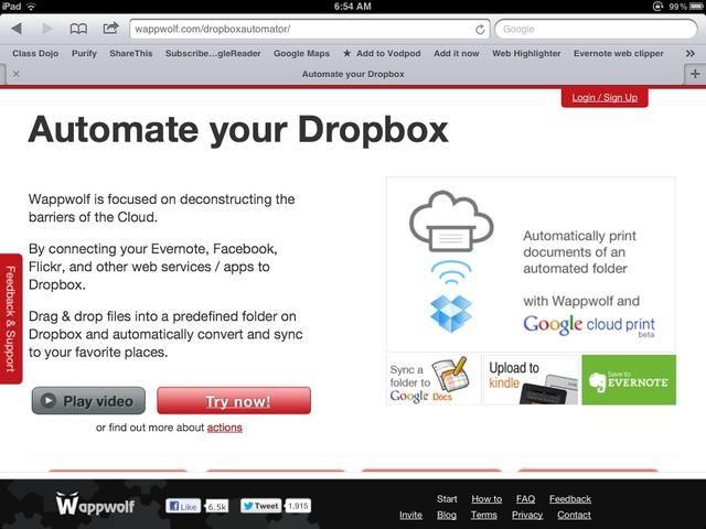 Crear una cuenta con Wappwolf vinculándolo a tu cuenta de Dropbox. A continuación, escriba una acción para que cualquier archivo subido a su
