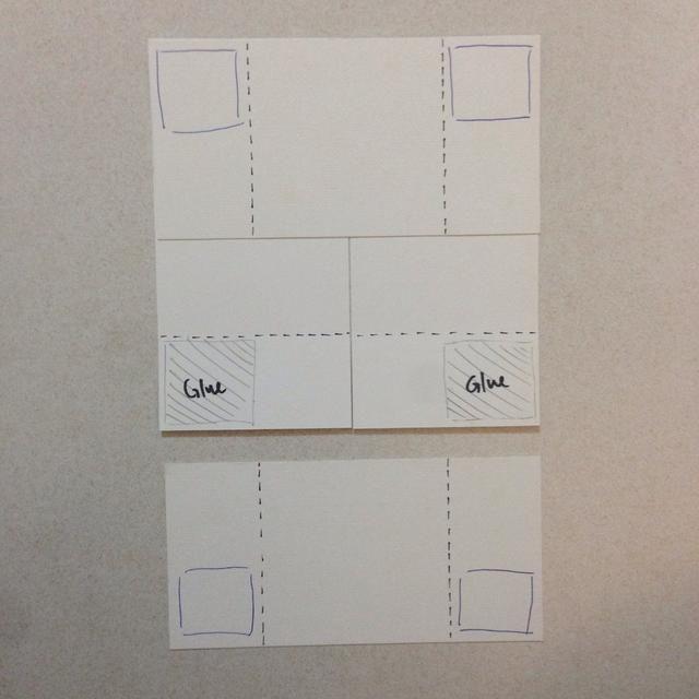Baja el cartón de arriba hacia abajo y se adhieren a los extremos de las esquinas superiores de 2 cartulinas adyacentes como lo indica el cuadro de llanura ...