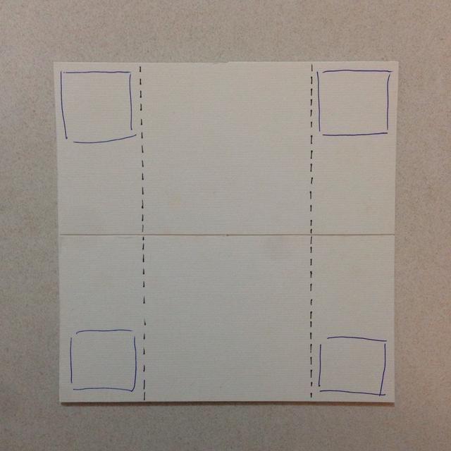 Repetición por la educación de la cartulina inferior a los extremos de las esquinas inferiores de las 2 cartulinas adyacentes ... Usted recibirá un 6