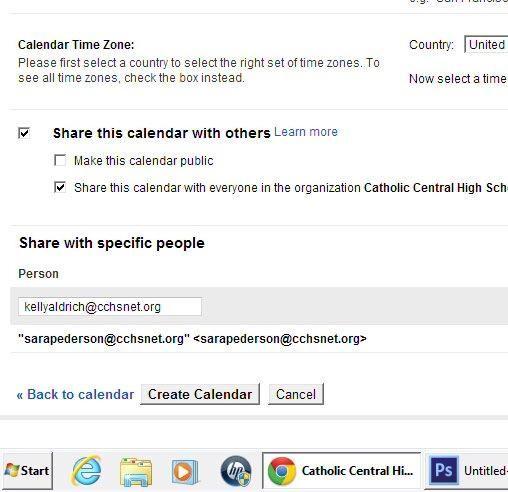 A continuación, haga clic en Crear calendario.