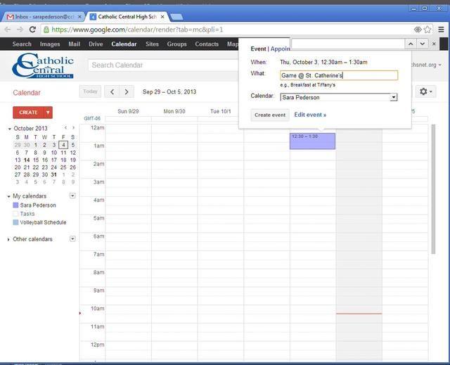 Por último, usted es capaz de añadir eventos al calendario haciendo clic en un tiempo determinado.