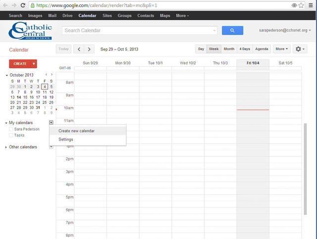 Siguiente, haga clic en Crear un nuevo calendario.