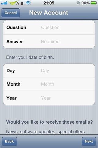 Escriba una pregunta y contesta que pueda recordar su ID de Apple's password. Then put your date of birth. When you finish this step, tap on