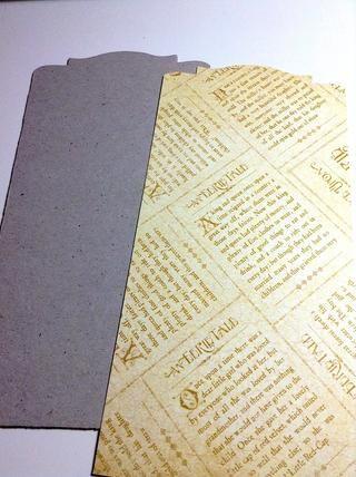 Utilice el mismo troquel para cortar un trozo de un documento misterioso cuento lo que'll add to the front.
