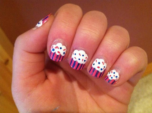 Don't forget sprinkles! �� Use a toothpick dipped into polish and make dots and lines on the frosting