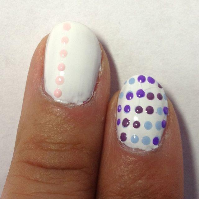 Usando el tono más claro de esmalte de uñas y una herramienta que salpican de su elección, punto una línea recta.