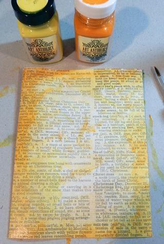 Pintura papel impreso con la tarta del limón Sorbete de piedras preciosas y ámbar.